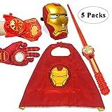 Fundisinn Iron Man 5 Packs Cartoon Superhero Costume Light Mask & Satin Cape & Light Gloves & Adjustable Sword & Fire Gloves Dress Up Costumes for Kids (Iron Man)