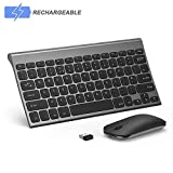Wireless Keyboard and Mouse Combo, Seenda Low Profile Small Rechargeable Wireless Keyboard and Mouse for Windows Devices, Space Gray
