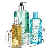 InterDesign Plastic Bathroom Suction Holder, Shower Organizer Corner Basket for Sponges, Scrubbers, Soap, Shampoo, Conditioner, 9' x 7' x 3.5', Clear