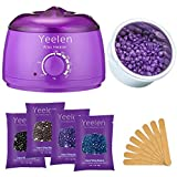 Yeelen Hair Removal Kit Hot Wax Warmer Waxing Kit Wax Melts with 4 Flavors Hard Wax Beans(14.1oz...