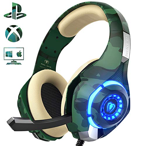 Gaming Headset for PS4 Xbox One PC, Beexcellent Stereo Sound Headphones with Noise Reduction Mic and LED Light PlayStation Vita(Camo)
