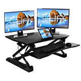 Seville Classics OFF65807 AIRLIFT 35.4' Gas-Spring Height Adjustable Standing Desk Converter Workstation Ergonomic Dual Monitor Riser with Keyboard Tray and Phone/Tablet Holder Full Black