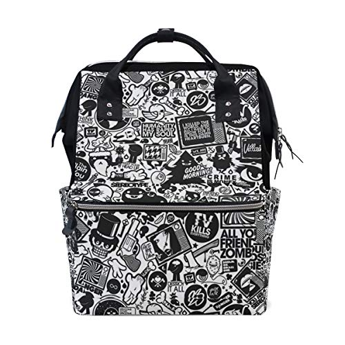 Hip-Hop Graffiti Diaper Bag Multi-Function Travel Backpack Nappy Tote Bags for Mom & Dad Large Capacity