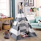 Costzon Kids Play Tent Indian Tent 5' Cotton Canvas Baby Children Playhut with Carry Bag, Indoor and Outdoor Kid Teepee Tent for Toddlers Boys and Girls (Gray & White Stripe)