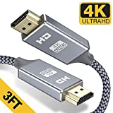 HDMI Cable 3FT - Braided Cord - 4K HDMI 2.0 Ready - High Speed - Gold Plated Connectors - Ethernet/Audio Return Channel - Video 4K UHD 2160p, HD 1080p, 3D - Xbox Playstation PS3 PS4 PC Apple TV