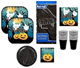 Halloween Themed Party Pack | Ghost & Pumpkin Plates, Napkins, Cups, Tablecover | 6 Items Serves 16 Guests