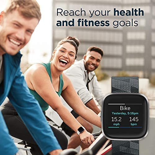 51ZXU4oSuxL. AC  - Fitbit Versa 2 Special Edition Health & Fitness Smartwatch with Heart Rate, Music, Alexa Built-in, Sleep & Swim Tracking, Smoke Woven/Mist Grey, One Size (S & L Bands Included)