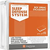 The Original Sleep Defense System - PREMIUM Zippered Bed Bug & Dust Mite Proof Box Spring Encasement & Hypoallergenic Protector - 60-Inch by 80-inch, Queen
