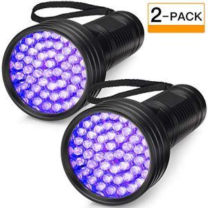 2-Pack UV Flashlight Black Light, FOLKSMATE 51 LED 390-395 nm Ultraviolet Blacklight Urine Detector for Dogs, Pet Stains, Bed Bugs, Scorpions, Portable for Travel Black Light 6