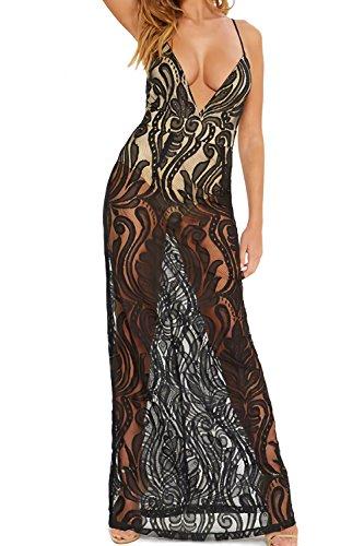 e7930450d0793 Velius Women Sexy V Neck Floral Lace Bodycon Party Maxi Dress - Fashion
