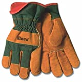 KINCO 1721GR-L Men's Lined Leather Palm Gloves, Suede Cowhide, Green Fabric Back, Large, Russet