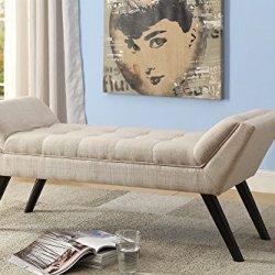 Baxton Studio Wholesale Interiors Tamblin Mid-Century Retro Linen Fabric Upholstered Grid-Tufting 50″ Bench, Beige