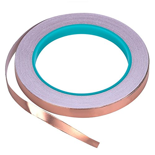 Zehhe Copper Foil Tape with Double-Sided Conductive (1/4inch X 21.8yards)- EMI Shielding,Stained Glass,Soldering,Electrical Repairs,Slug Repellent,Paper Circuits,Grounding (1/4inch)