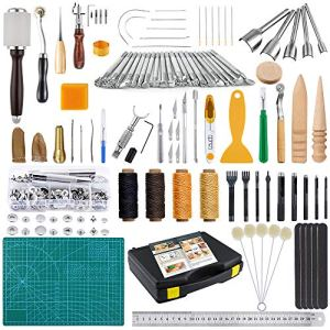 Caydo Leather Craft Tools Kit with Instructions, Leather Sewing Tools, Punch Tools, Rivets Tools, Stamping Set and Wooden Handle Nylon Hammer for Leather Craft and Saddle Making Tools