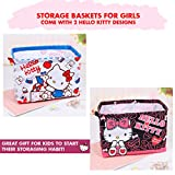 Hello Kitty Merchandise : Storage Baskets for Girls and Come with Two Characters Designs. Use as Babies Storage Bins (Hello Kitty)