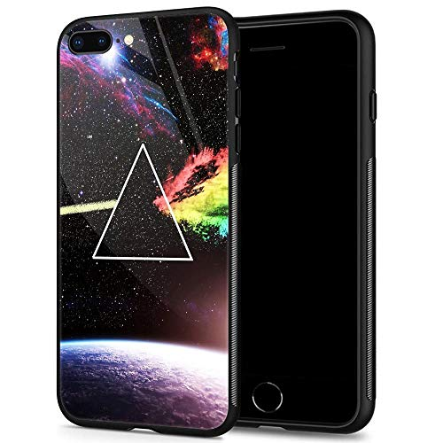 iPhone 8 Plus Case,9H Tempered Glass iPhone 7 Plus Cases for Men Boys,Cool Pink Floyd Dark Side Pattern Design Printing Shockproof Anti-Scratch Case for Apple iPhone 7/8 Plus 5.5 inch Dark Side