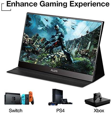 "Portable Monitor - AUZAI 15.6"" Ultra Slim Portable Computer Monitor, FHD IPS Panel & USB-C HDMI, 100% sRGB HDR Monitor, Eye Saver & Flicker Free for Desktop Laptop PC Smartphone Xbox PS4 16"