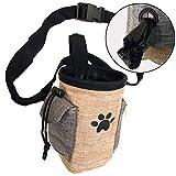 Pet Treat Pouch Dog Training Bag with Belt Carries Pet Toys Kibble Treats Sport Running Drawstring Waist Bag Poop Bag Dispenser (Beige)