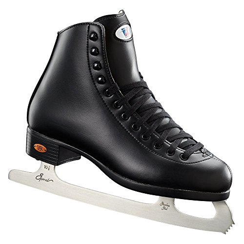 Riedell Skates - 110 Opal - Recreational Ice Skates with Stainless Steel Spiral Blade for Men | Black | Size 6