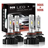 SEALIGHT 9005/HB3 High beam 9006/HB4 Low Beam LED Headlight Bulbs Combo Package CSP Chips 6000LM 6000K (4 Pack, 2 Sets)