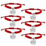 lauhonmin You are Braver Stronger Smarter Than You Think Inspirational Expandable Bangle Bracelet Women (6pcs Red Rope)