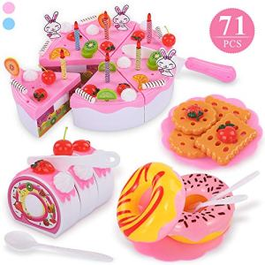 TEMI 71pcs Pretend Play Food for Kids, Cutting and Decorating Birthday Party Cake Toys Set with Candles Fruit Dessert Creams, Kitchen Chopping Playset for Children Aged 3 4 5 Years Old, Pink 51ZiIemP0ZL
