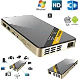 Shengsite DLP LED Mini Projector 1080P HD Home Theater 3D HDMI USB Video Projectors with HDMI USB TF Support IOS Android Windows Mac OS PS4 Gold+Black