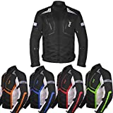 Motorcycle Jacket For Men Cordura Motorbike Racing Biker Riding Breathable CE Armored Waterproof All-Weather (All-Black, Large)