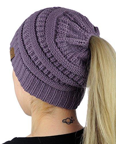 de74b9353d8 C.C BeanieTail Soft Stretch Cable Knit Messy High Bun Ponytail Beanie Hat