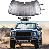 Folding Windshield Sun Visor Shade UV Reflector Keeps Vehicle Cool for Ford F150 2015-2018