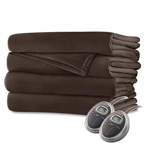 Sunbeam Luxurious Velvet Plush King Heated Blanket with 20 Heat Settings, Auto-Off, 2-Digital Controllers, 5 Yr Warranty - Walnut Brown