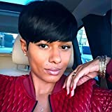 HOTKIS 100% Human Hair Short Wigs Glueless Short Black Hair Bob Wigs Short Hairstyles for Black Women (Neat Bangs-Natural color)