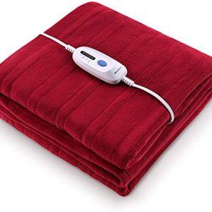 "Electric Heated Blanket Polar Fleece Full Size 77"" x 84"" Extra-Warm Lightweight Cozy Luxury Bed Blanket Machine…"