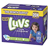 Luvs Ultra Leakguards Disposable Baby Diapers, Size 4, 172 Count, ONE MONTH SUPPLY (Packaging May Vary)