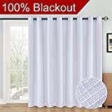RHF 100% Blackout,patio door curtains,Sliding Door Curtains,Linen Look,Wide Thermal Blackout Curtains,Grommet Curtains,Extra Wide Curtains for Sliding Glass Door,1Panel,100 X 84 White