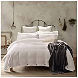 Doffapd Duvet Cover Queen, Washed Cotton Duvet Cover Set - 3 Piece (Queen, Off-White)