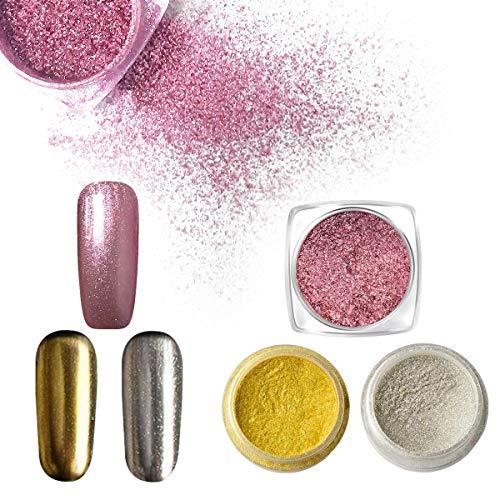 3 Boxes Magic Mirror Powder, Saviland Glitter Powder Nail Sequins Chameleon Chrome Nail Powder Pigment Nail Art Decoration with Sponges (Silver, Gold and Rose Gold)
