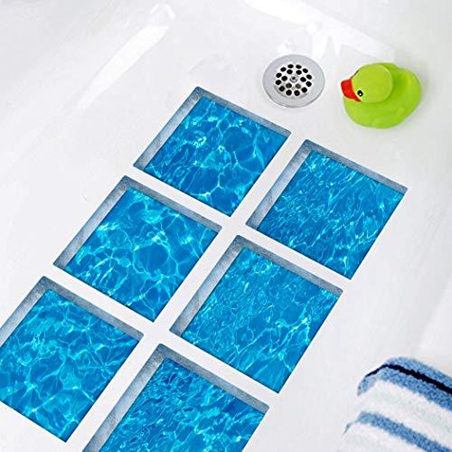 3D Bathtub Stickers,Anti Slip Waterproof Self-Adhesive Tub Decals,Ripple Ocean Bath Mats