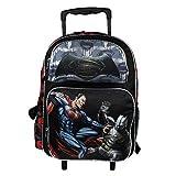 NEW DC Batman v Superman Movie Large 16 Back to School Black Rolling Backpack-Black