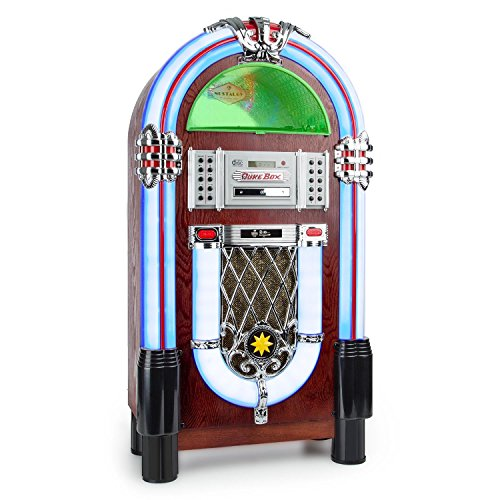 Auna Graceland Jukebox • USB • SD • AUX • AM/FM Radio • MP3 • CD-Player • LED • 50s Classic Style • 2-Band Equaliser • Programmable Playback • Brown Wooden