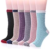 Womens Super Soft Fuzzy Cozy Home Sleeping Socks Microfiber Winter Warm Slipper Socks (6 Pairs Solid Color A)