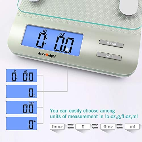 Accuweight 207 Digital Kitchen Multifunction Food Scale for Cooking with Large Back-lit LCD Display,Easy to Clean with Precision Measuring,Tempered Glass (Silver) 5