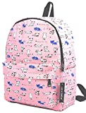 Canvas Travel Backpack for Women and Teens (Cat Pink Medium)