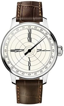 MeisterSinger Franklin Mens Single-Hand Manual Wind Mechanical Watch - 43mm Analog Beige Face with Roman Numerals in Spiral Design - Swiss Made Limited Edition Unique Luxury Watch with Leather Band