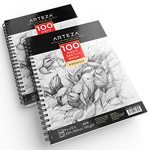 """ARTEZA 9X12"""" Sketch Book, Pack of 2, 200 Sheets (68 lb/100gsm), Spiral Bound Artist Sketch Pad, 100 Sheets Each, Durable Acid Free Drawing Paper, Ideal for Kids & Adults, Bright White"""