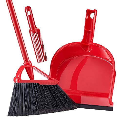 Tiumso Broom Dustpan Set with Comb Teeth SB032 Anti Static Expandable Brooms Dust Pan Warehouse Broom Lobby Broom Set Sweeping Set 55' Long Handle Red