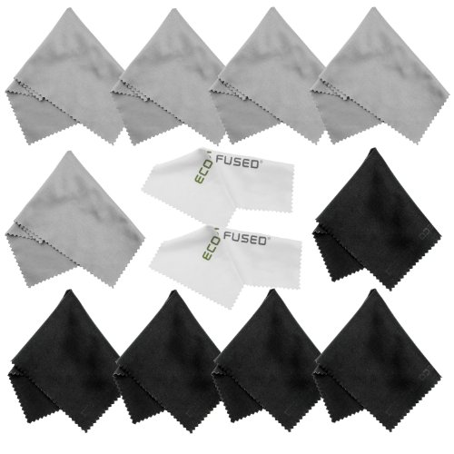 Eco-Fused Microfiber Cleaning Cloths - 12 Pack - for Cleaning Glasses, Spectacles, Camera Lenses, iPad, Tablets, Phones, iPhone, Android Phones, Laptops, LCD Screens and Other Delicate Surfaces