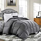 ROSECOSE Luxurious Medium Weight Goose Down Comforter Queen Size Duvet Insert All Seasons Hypo-allergenic 1200 Thread Count 750+ Fill Power 100% Cotton Shell Down Proof with Tabs Gray (Queen, Gray)