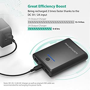Portable Charger RAVPower 10000mAh Power Bank, Most Compact 10000 Battery Pack with 3.4A Output for Smartphone and Tablet (Black)