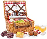 Picnic Basket Set for 4 Person | Insulated Red Picnic Hamper Set | Picnic Table Set | Picnic Plates | Picnic Supplies | Summer Picnic Kit | Picnic Utensils Cutlery Flatware
